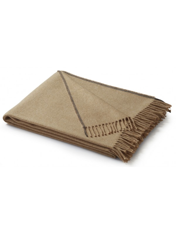 PLAID CAMEL PLAIN BLANKET