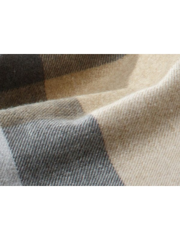 PLAID KARO GREY/BEIGE BLANKET