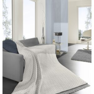 BASKETWEAVE FRINGE GREY BLANKE